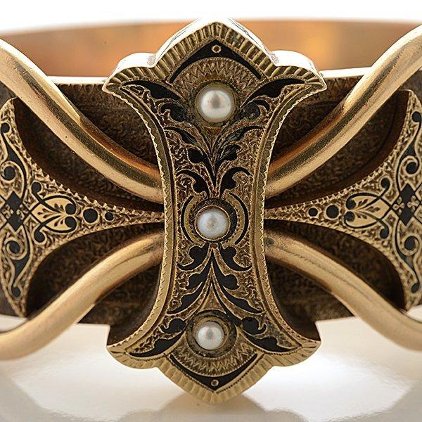 Victorian Pearl, Enamel, 14k Yellow Gold Bracelet. - 2