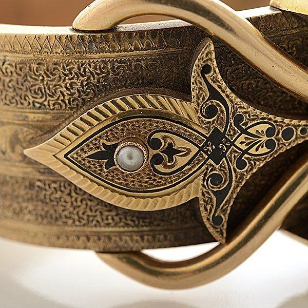 Victorian Pearl, Enamel, 14k Yellow Gold Bracelet. - 3