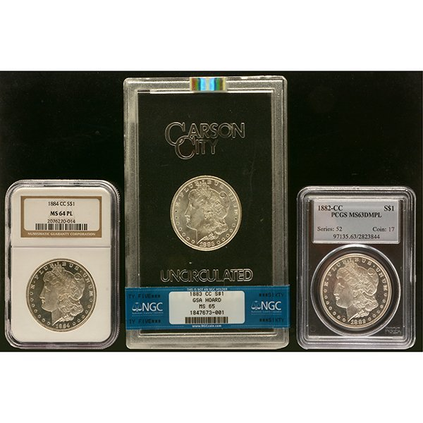 Lot of 3 US MOrgan Dollars 1882-CC PCGS MS63DMPL; 1833