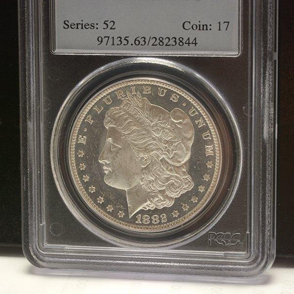 Lot of 3 US MOrgan Dollars 1882-CC PCGS MS63DMPL; 1833 - 6