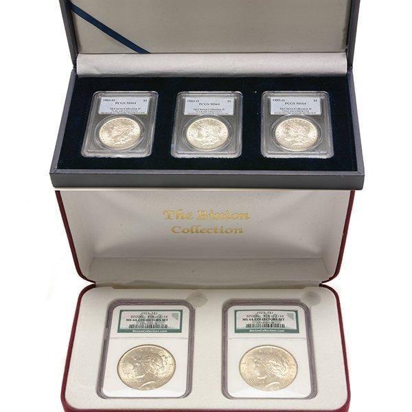 US Silver Dollars Including Morgan 1883(O) PCGS MS64;