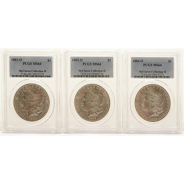 US Silver Dollars Including Morgan 1883(O) PCGS MS64; - 2