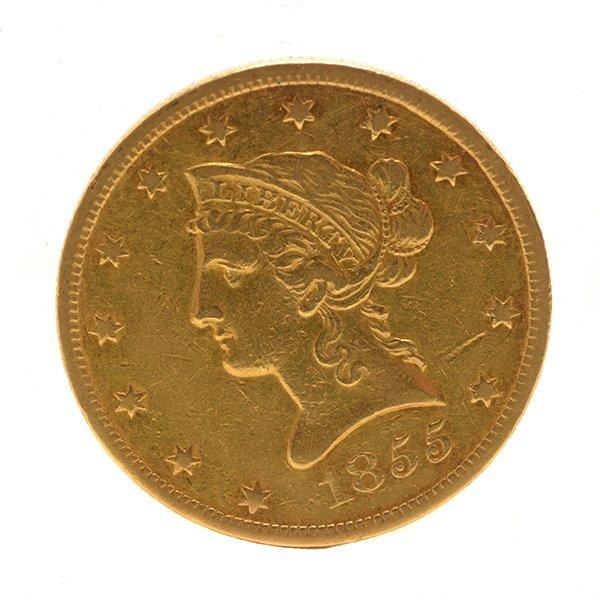 US 1855(O) $10.00 Gold Coin EF Condition