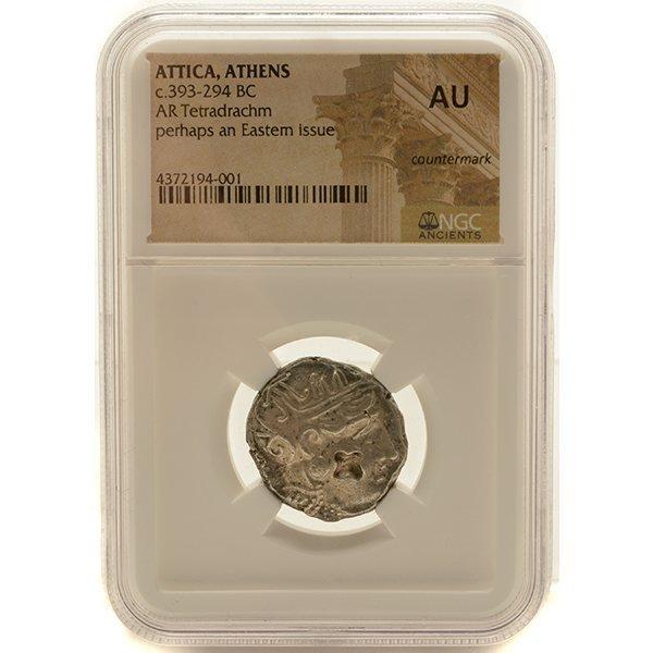 Ancient Silver Coin Attica Athens c 393-294 BC NGC AU