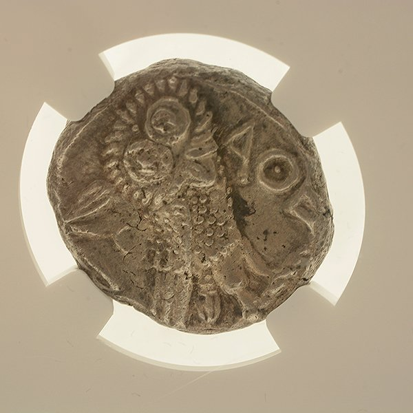 Ancient Silver Coin Attica Athens c 393-294 BC NGC AU - 3