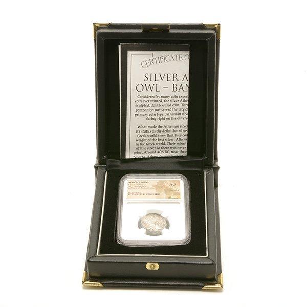 Ancient Silver Coin Attica Athens c 393-294 BC NGC AU - 4