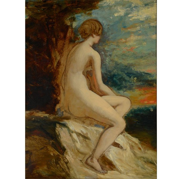 """Attributed to William Etty """"Sketch for Andromeda"""" oil"""
