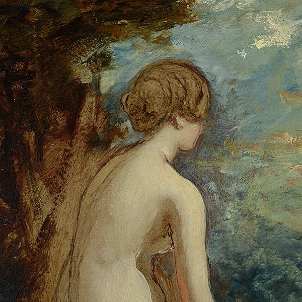 """Attributed to William Etty """"Sketch for Andromeda"""" oil - 2"""