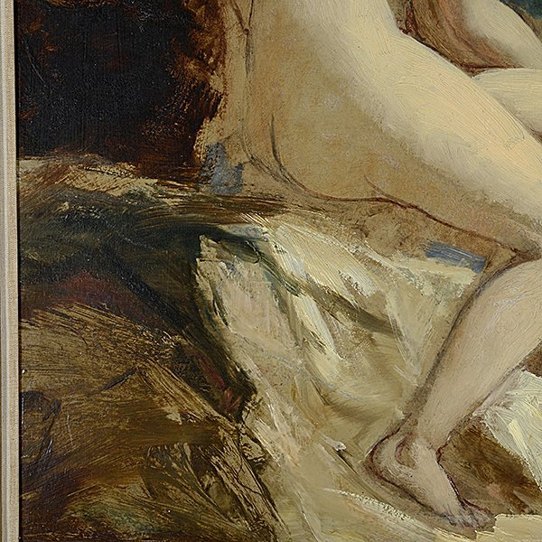 """Attributed to William Etty """"Sketch for Andromeda"""" oil - 3"""