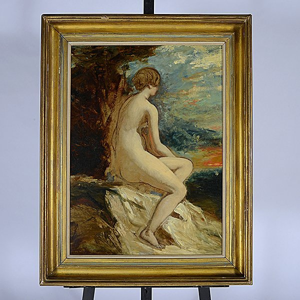 """Attributed to William Etty """"Sketch for Andromeda"""" oil - 4"""