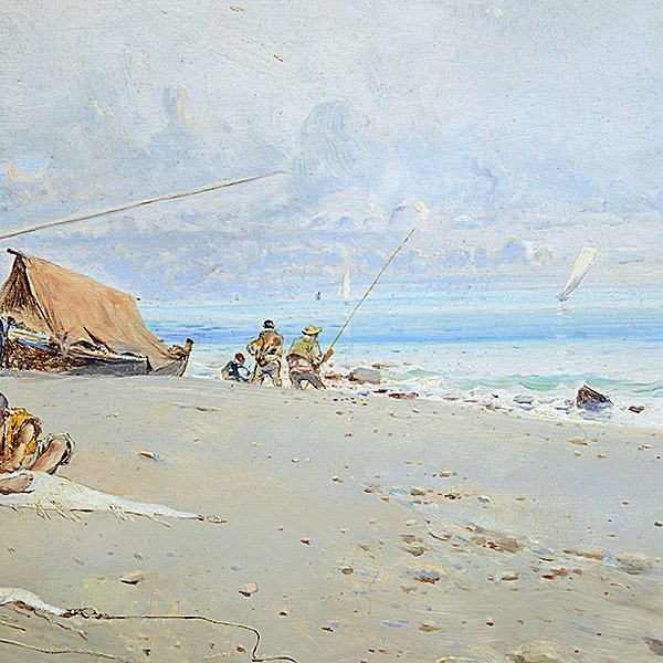 "Baldomeno Y Jimenez Galofre ""Fishermen"" oil on panel - 4"