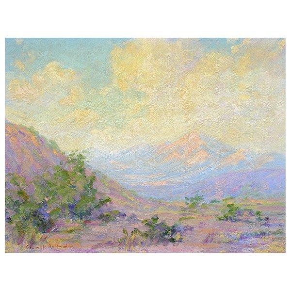 "Granville Redmond ""Mountain Desert Landscape"" oil on"