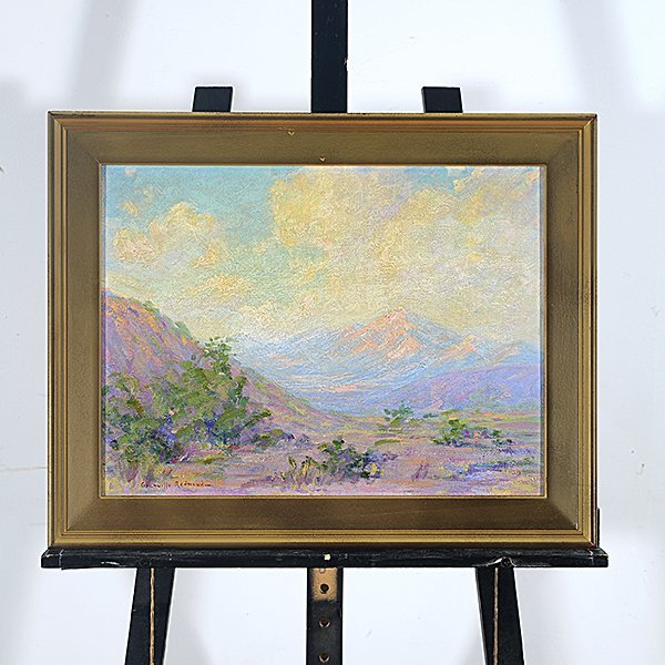 "Granville Redmond ""Mountain Desert Landscape"" oil on - 4"
