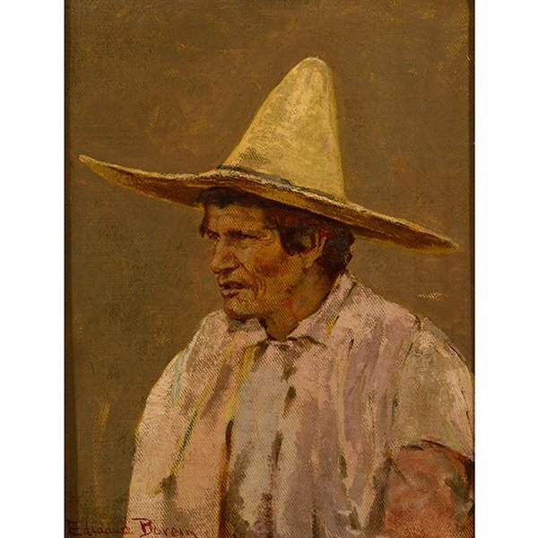 "Edward Borein ""Vaquero"" oil on canvas board"
