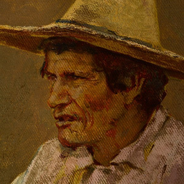 "Edward Borein ""Vaquero"" oil on canvas board - 8"