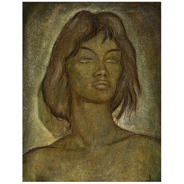 "Angel Botello ""Portrait of a Woman"" oil on masonite"