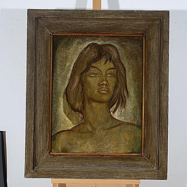 "Angel Botello ""Portrait of a Woman"" oil on masonite - 4"