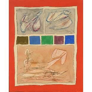 """Achille Perilli """"Ancora più 1962"""" oil on canvas"""