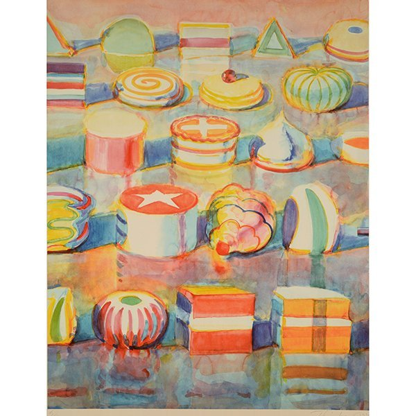 """Wayne Thiebaud """"Colorful Cakes"""" lithograph"""