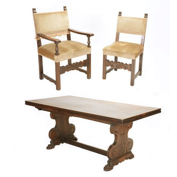 Renaissance Revival Dining Table with Eight Chairs