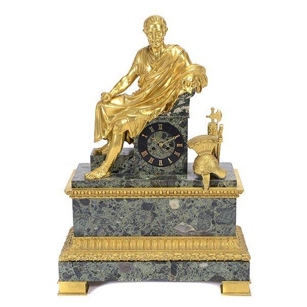 Monumental Gilt Bronze and Breccia Marble Mantel Clock