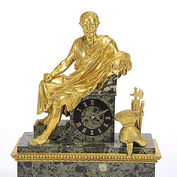 Monumental Gilt Bronze and Breccia Marble Mantel Clock - 2