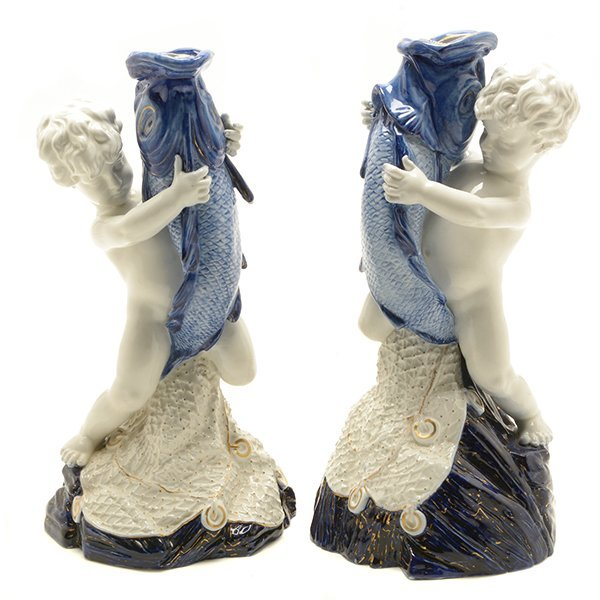 Pair of Royal Worcester Porcelain Figures of Cupid As