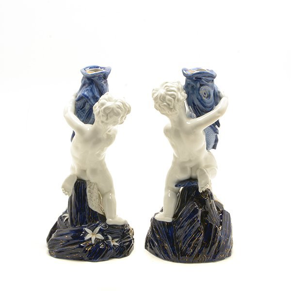 Pair of Royal Worcester Porcelain Figures of Cupid As - 4