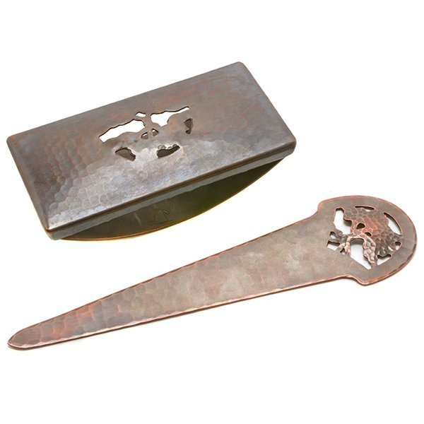 Dirk Van Erp Copper Letter Opener and Desk Blotter