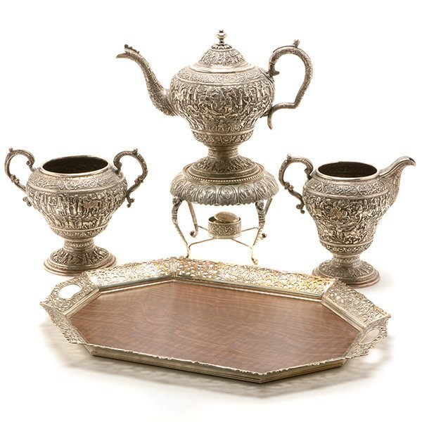Persian Silver Tea Service with a Dutch Silver Tray