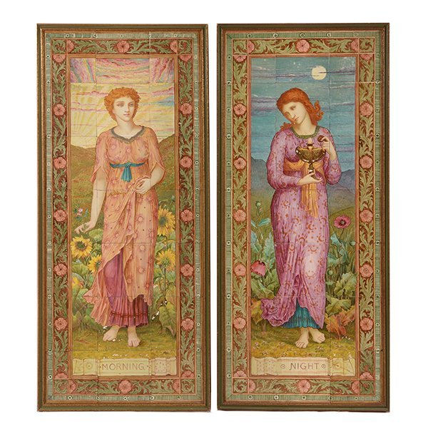 Pair of Aesthetic Movement Faience Tile Pictures of
