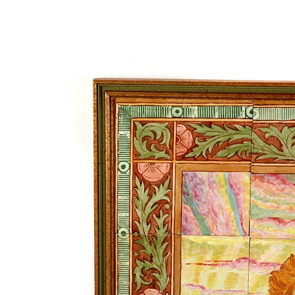 Pair of Aesthetic Movement Faience Tile Pictures of - 7