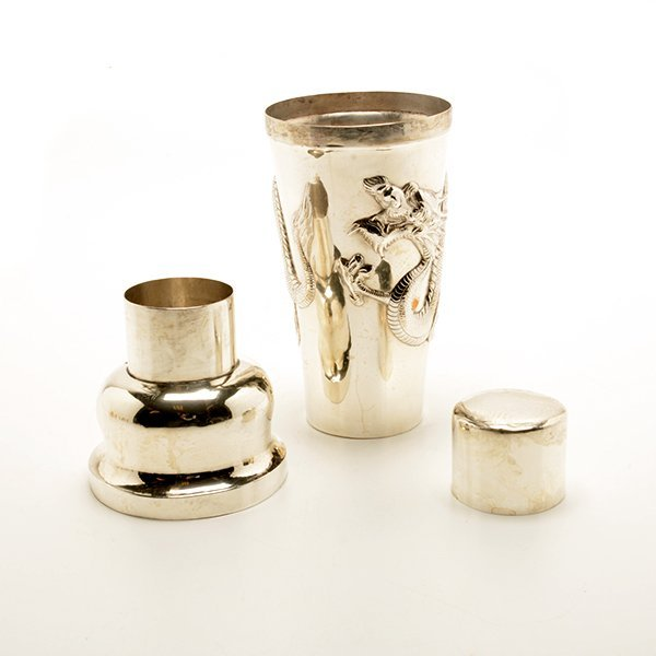 Art Deco Chinese Export Cocktail Shaker and Eight Shot - 4
