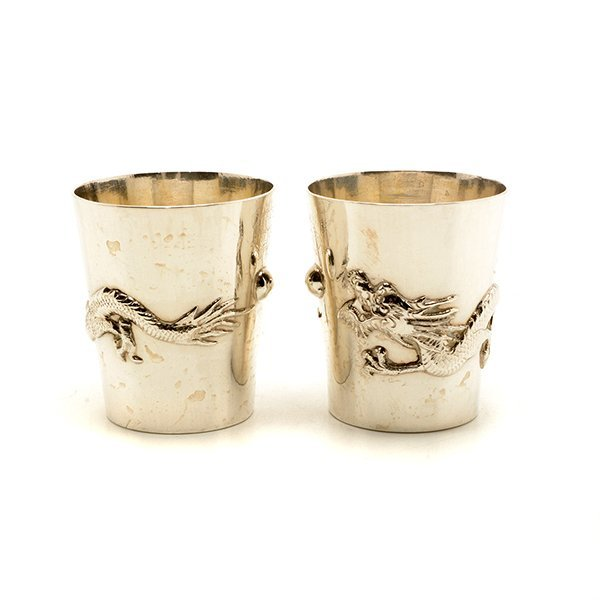 Art Deco Chinese Export Cocktail Shaker and Eight Shot - 6
