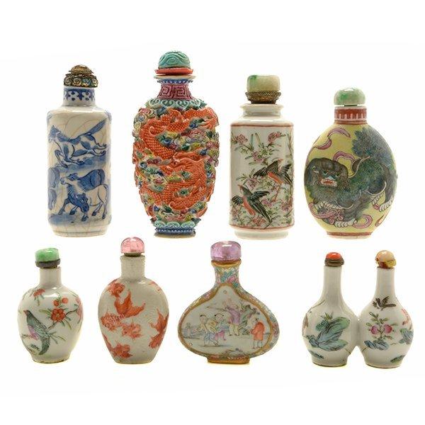 Eight Porcelain Snuff Bottles, 19th Century