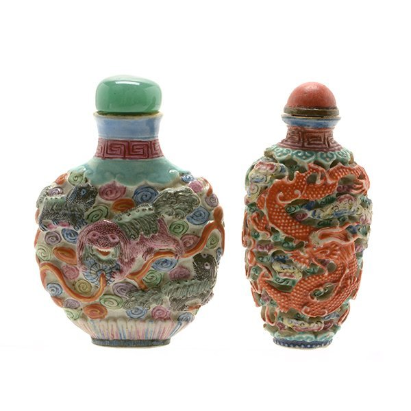 Two Famille Rose Mold Decorated Snuff Bottles, 19th