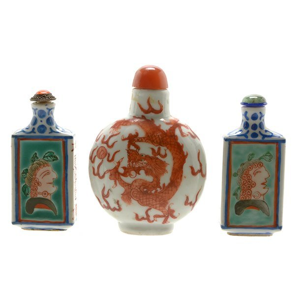 Three Enameled Porcelain Snuff Bottles, 19th Century
