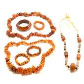 A Group of Amber Jewelry Items