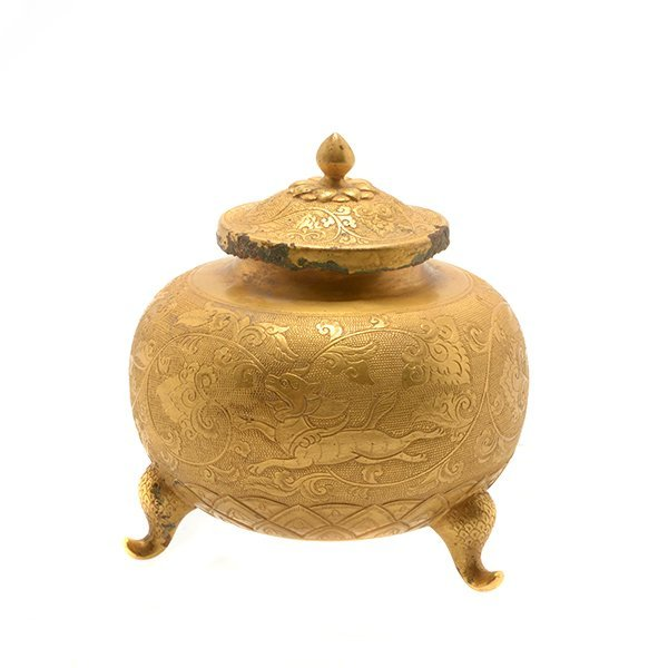 A Gilt-Bronze Covered Jar