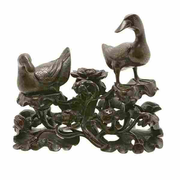 A Pair of Bronze Figures of Ducks, 19th Century