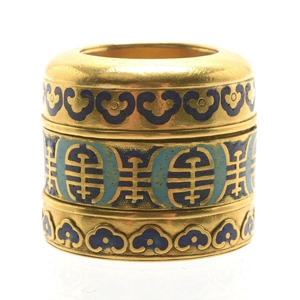 An Enameled 18K Gold Archer's Ring