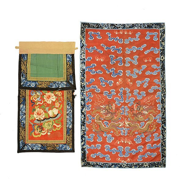 Two Embroidered Silk Textile Fragments, Late Qing