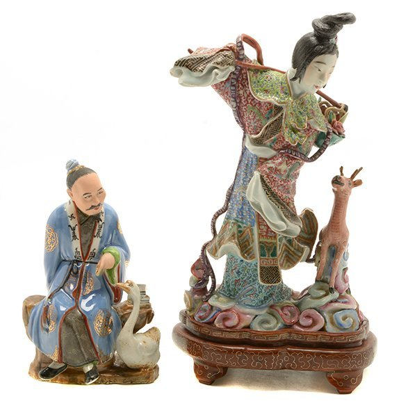 Two Polychrome Enameled Porcelain Figural Groups,