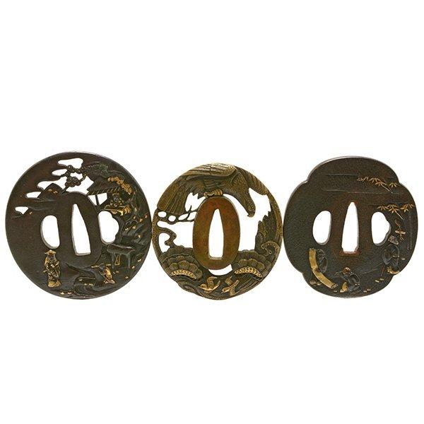 Three Shakudo Bronze Tsuba, 18th/19th Century