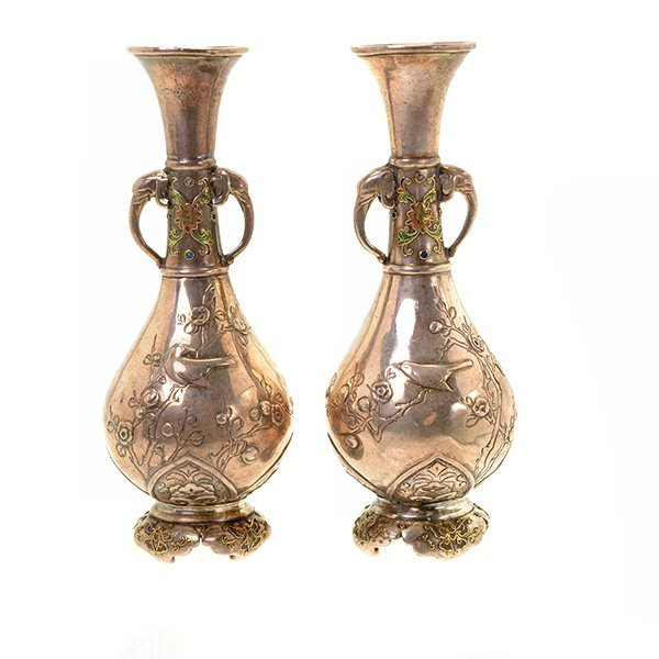 A Pair of Japanese Miniature Silver Vases, Meiji Period