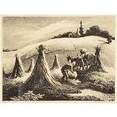 Thomas Hart Benton Loading Corn lithograph