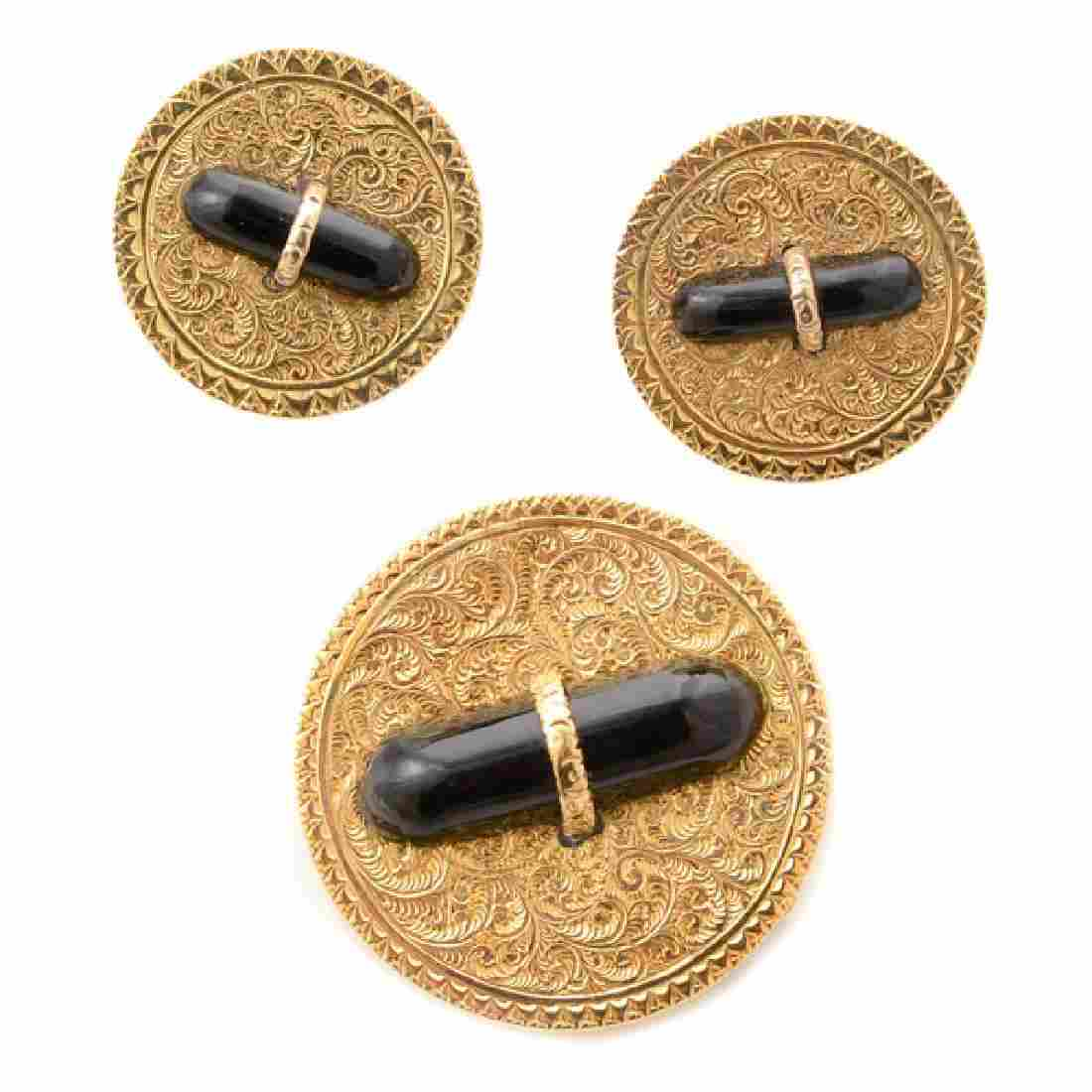 Victorian Black Onyx, 14k Yellow Gold Jewelry Suite.
