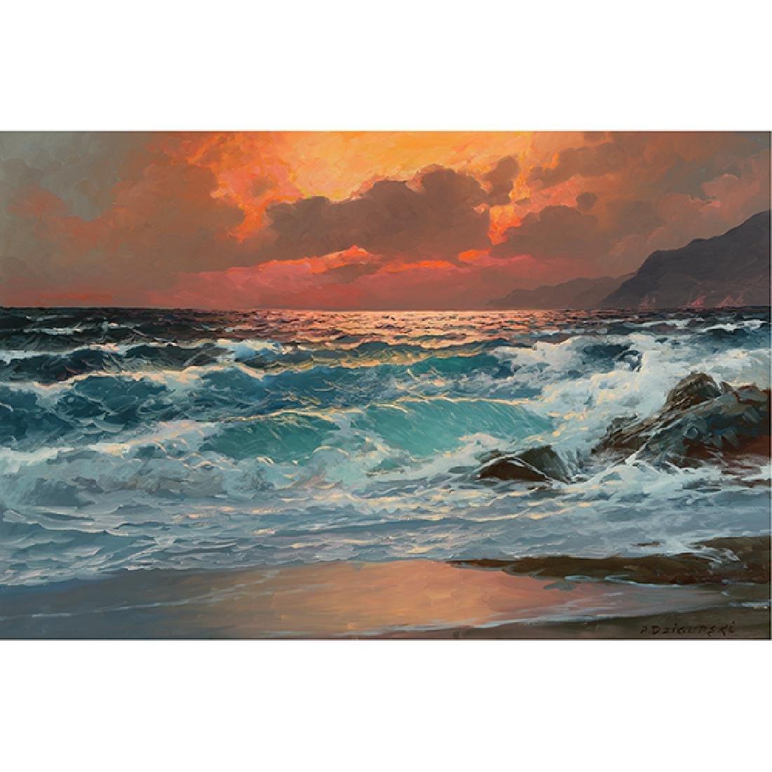 "Alexander Dzigurski ""Crashing Waves"" oil on canvas"