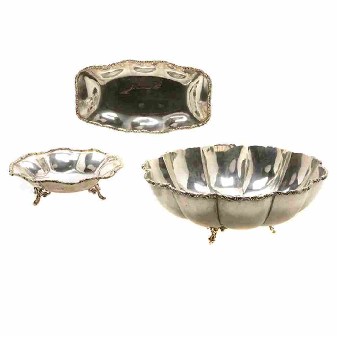 Suite of Three Mexican Sterling Bowls or Plates