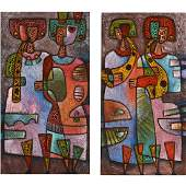 Pair of Mid Century Style Abstract Figural Paintings